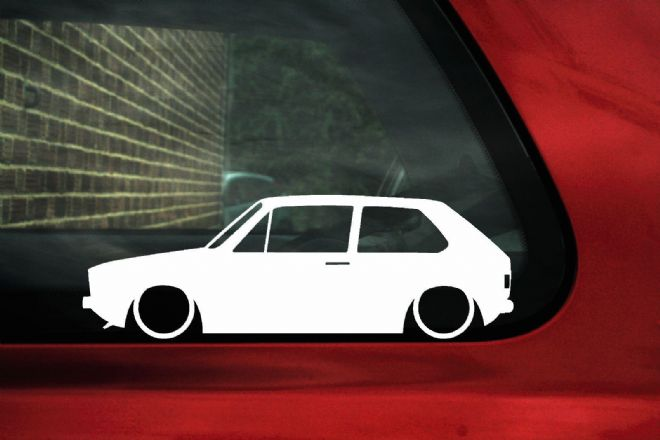 2x Low car outline stickers - for Volkswagen Mk1 Golf GTI classic vw